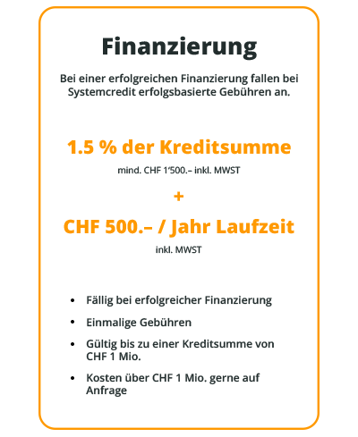 1.5% der Kreditsumme + CHF 500.–/Jahr Laufzeit